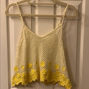 Free People Knit Yellow Flower Cropped Tank